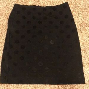 Banana Republic mini black skirt.velvet polka dots
